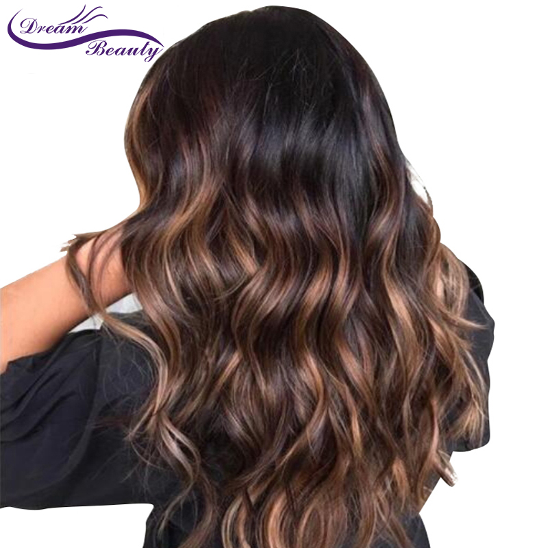 Highlight Lace Front Wig Ombre Brown Human Hair Wigs With Baby Hair Brazilian Remy Wavy Lace