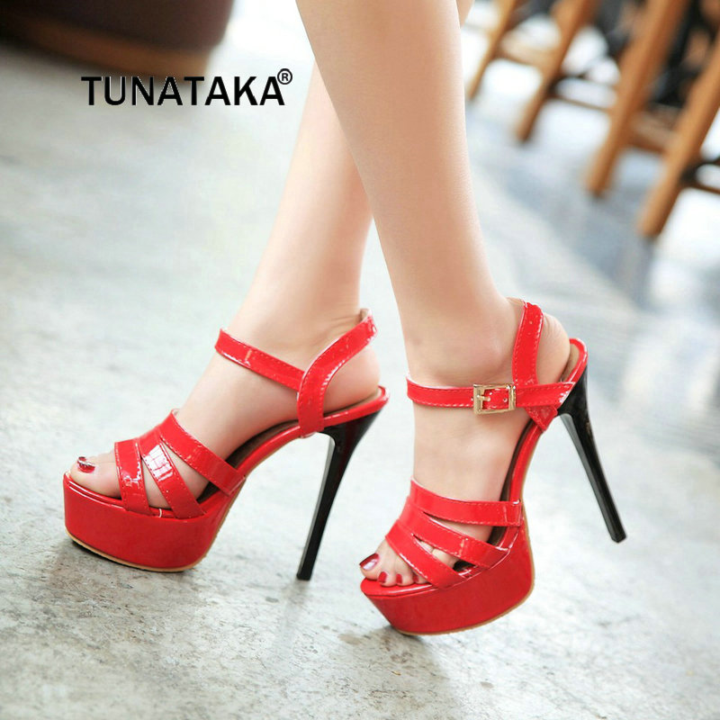 The New Womne's Sexy Thin High Heel With Platform Open Toe Sandals Fashion Buckle Party Dress Summer Shoes Black Red White faux suede platform buckle strap sexy thin high heel pumps fashion round toe party shoes women red black