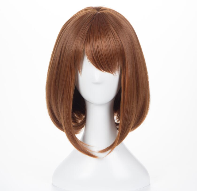 hot fashion Anime My Hero Academia Ochako Uraraka Short Brown Bob Heat Resistant Cosplay Costume women Wig A303