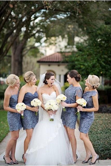6f82239bb63 4 Styles Lace Bridesmaid Dress Mini Short Pretty Dark Blue Maid Soirees  Party Gown for Weddings Alternative Vestidos De Festa