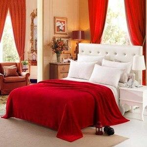 Image 5 - CAMMITEVER Solid Color Flannel Blanket Adult Warm Blanket Super Soft Coral Fleece Blanket Adult Double Bed Sofa