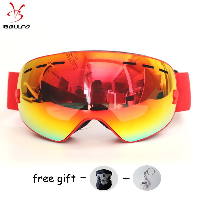 BOLLFO Brand Ski Goggles Double Layer UV400 Anti-fog Ski Mask Ski Goggles Men Women Snowboard Goggles Snowmobile Spectacles