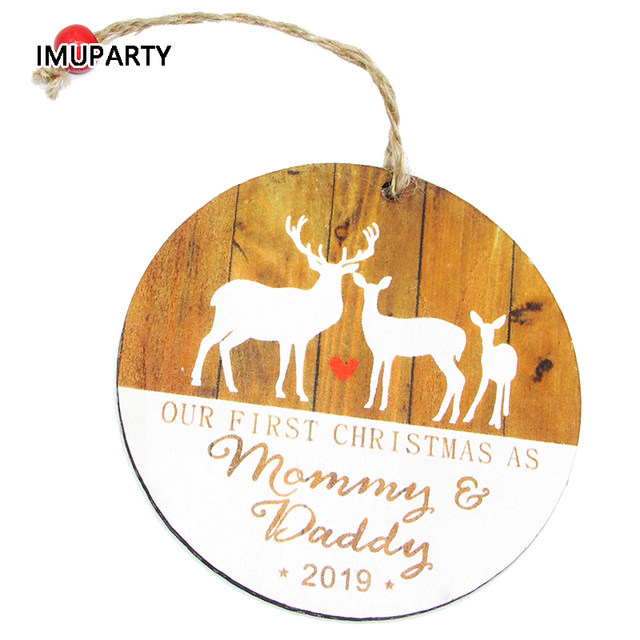 Elk New Mommy and Daddy First Christmas Pendant Wooden Christmas Tree Ornament Christmas Decorations for Home Xmas Supplies 5