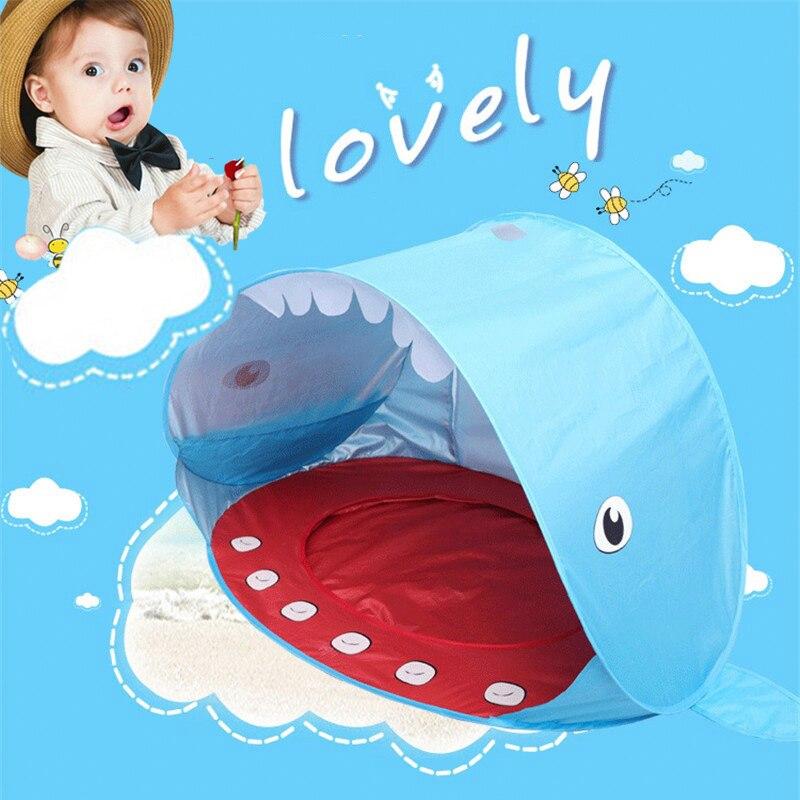 Forme de requin tente de jeu tente de plage protection UV vitesse ouverte bébé abri solaire avec piscine enfants jouets de plein air Camping parasol auvent
