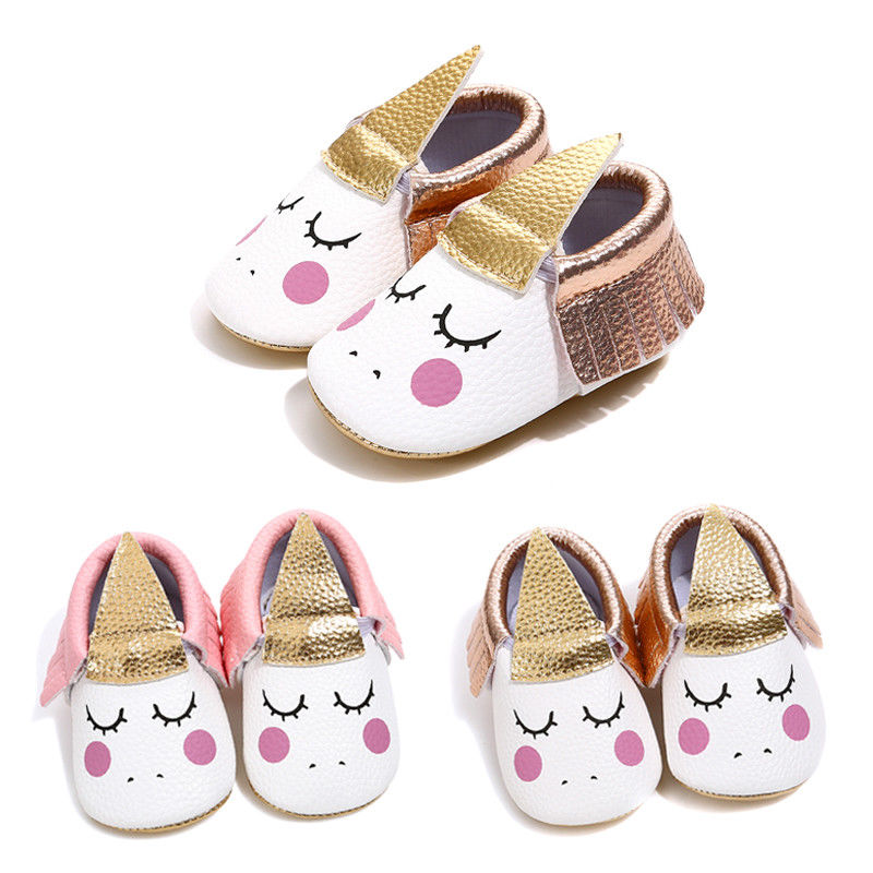 Cute Newborn Baby Girls Princess Cartoon Cat Unicorn First Walkers Newborn Soled Anti-Slip Shoes Cute