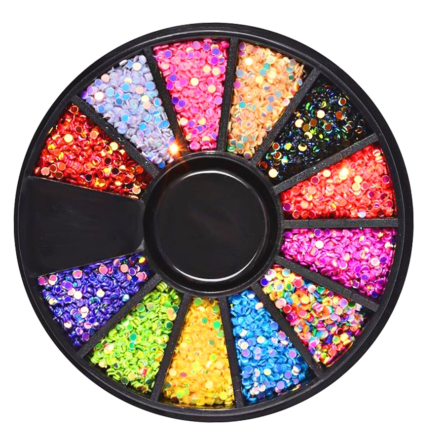 1 Box 1mm Mixed 12 Color 3D Nail Art Decorations Colorful Round Laser Nail Sequins Wheel Manicure Strass Nail Art Accessories