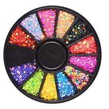1 Box 2mm Mixed 12 Color 3D Nail Art Decorations Colorful Round Laser Sequins Wheel Manicure Strass Accessories