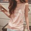 Coreano T-shirt da forma modal solto carta de impressão sem mangas colete feminino verão assentamento camisa de todos os jogo casaco tamanho