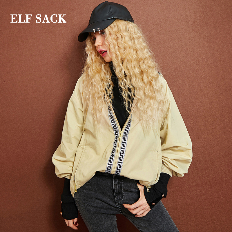 Elf sack 가을 새 여자 코트 캐주얼 와이드 허리 패치 워크 여성 자 켓 전체 느슨한 지퍼 세련 된 femme 겉옷 여성 jackert-에서베이식 쟈켓부터 여성 의류 의  그룹 1