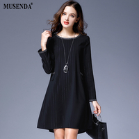MUSENDA Plus Size Women Elegant Black Striped Short Dress 2017 Autumn Female Office Lady Business Dresses