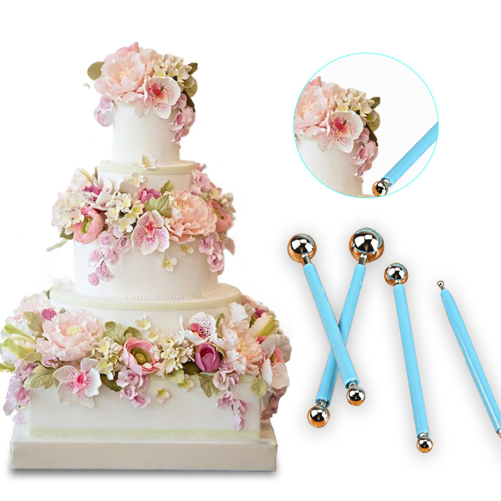 Cute 4pcs/Lot Sugarcarft Fondant Cake Decorating Kit Stainless Steel Molding Ball Sticks Kitchen Accessories Polymer Clay Tools