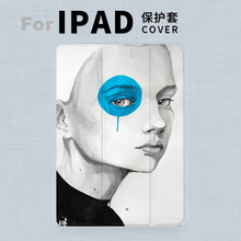 Art Blue Girl Magnet PU Leather Case Flip Cover For iPad Pro 9.7″ 10.5 Air Air2 Mini 1 2 3 4 Tablet Case For New ipad 9.7 2017