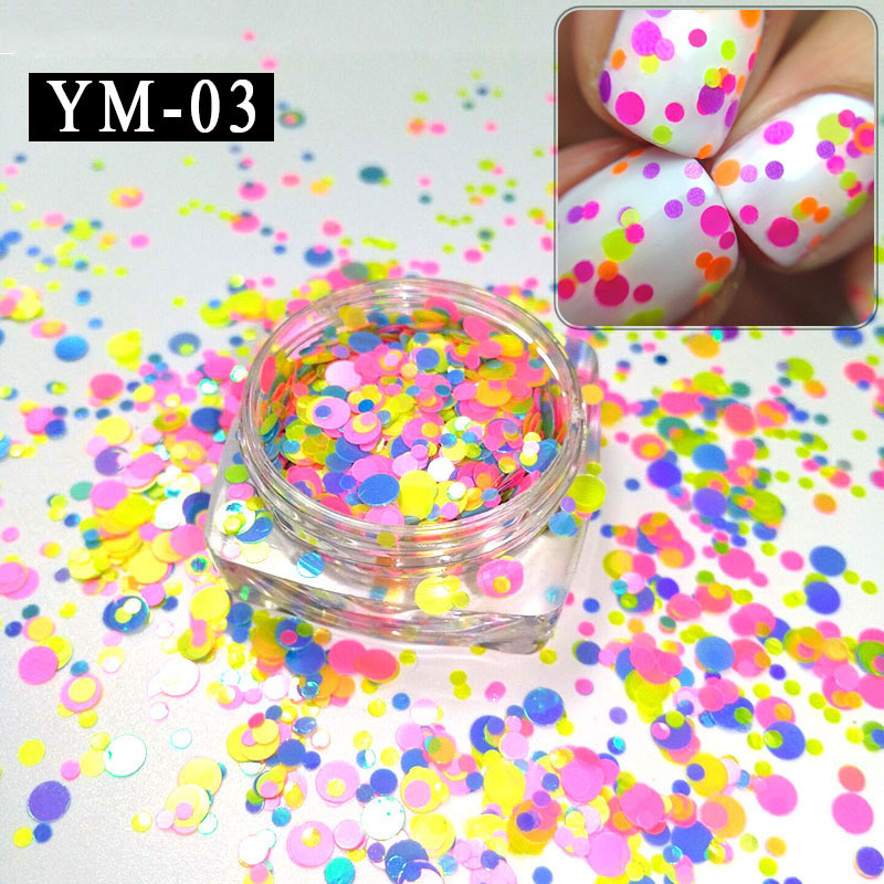 MGYM 01 12 A 12Boxes Lot 1mm 2mm 3mm 12pcs Candy Colors Nail Art Glitter Sequins Set Mixed Colorized Round DIY Decora in Nail Glitter from Beauty Health