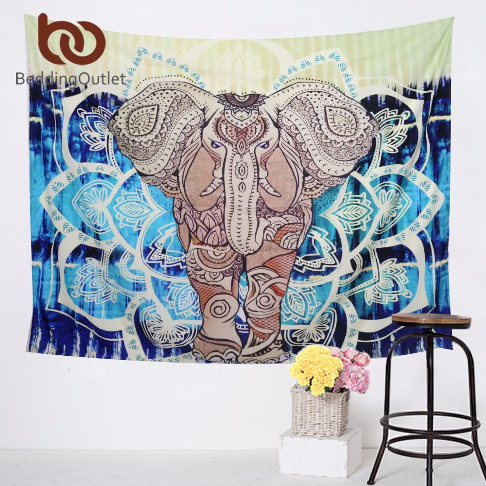 Beddingoutlet indian style tapestry elephant printed black for Fomic sheet wall hanging
