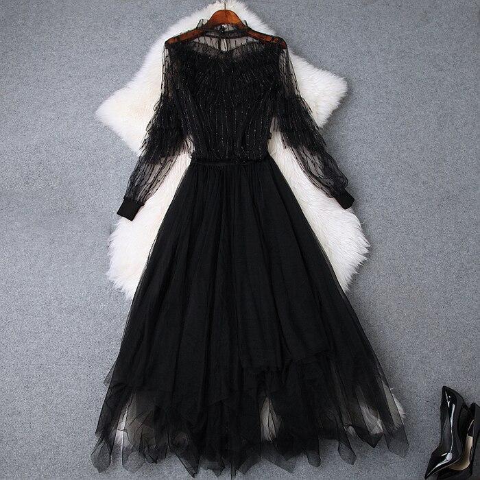 Pour Jupes Femelle Mode Noir Perspective longueur Ensemble Q992 Ruches Jupe Irrégulière Cheville Maille Costumes Blouseamp; Élégant Femmes XZuTOikP