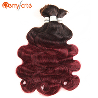 Remy Forte Hair 3 Bundles Deal Body Wave Bulk Human Hair Braiding No Weft Ombre 99J Remy Brazilian Bulk Human Hair Free Shipping