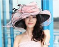 Free Shipping Women Organza Hat Derby Church Wedding Cocktail Evening Party Beach Dress Cap Sunmer Wide Brim Sun Hat Vintage New