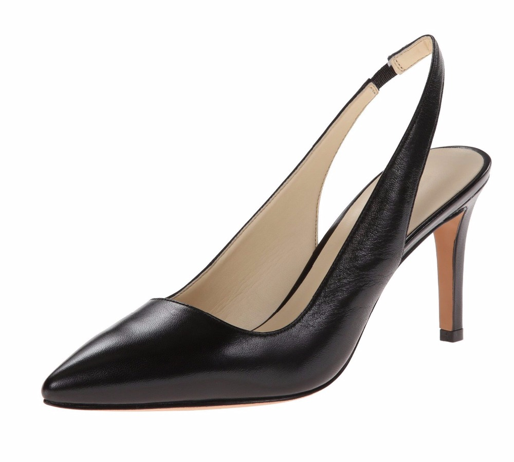 ФОТО Women's Pointed Toe Mid Heel Slingabck Pumps Kitten Heels Slip On Pointed Toe Party Dress Shoes Plus Size Black