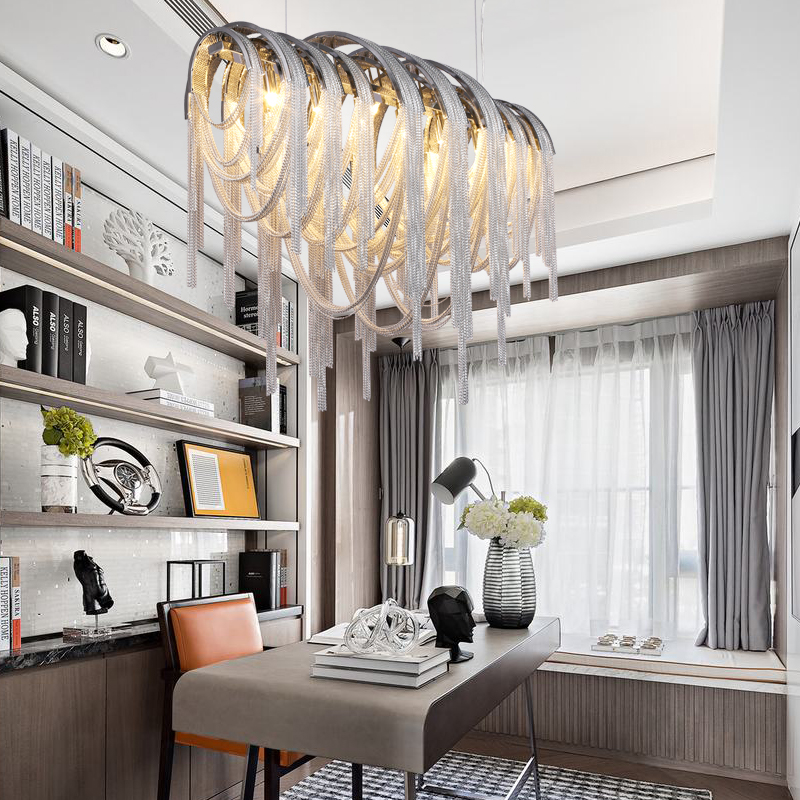 Luminaria de teto Abajur Light Fixtures Modern Hanglamp LED Aluminum Chain Chandelier Lighting for Hotel Home Deco Hanging Lamp