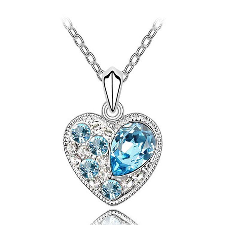 Hot selling 2014 wholesale lots Korean jewelry lady heart shaped brilliant chain Necklace Pendants Silver Plated Wedding Jewelry