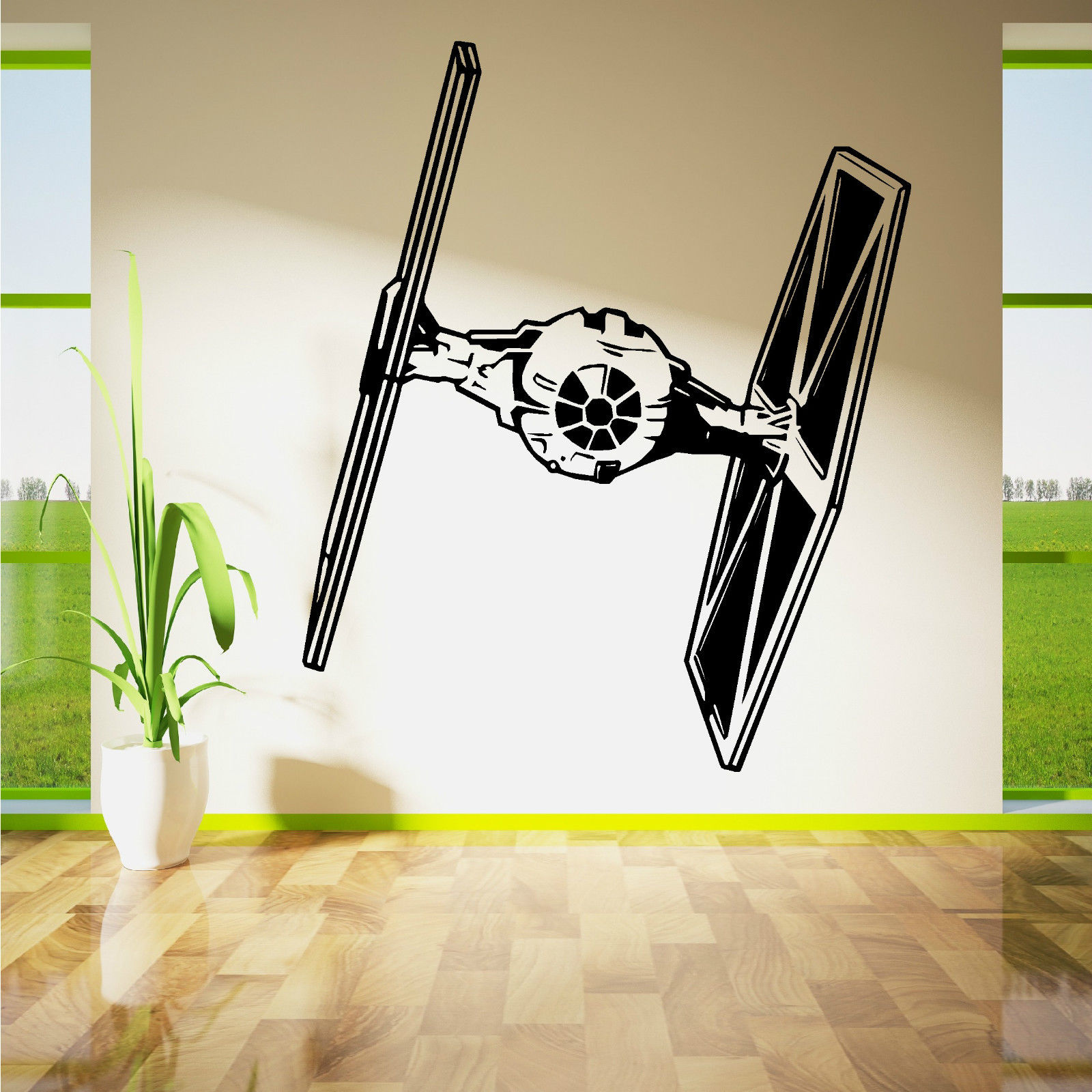 D270 star wars tie fighter wall art vinyl sticker room removable easily adhesive straight to the wall door mirror or any smooth surface you want made with high quality removable and waterproof pvc amipublicfo Choice Image