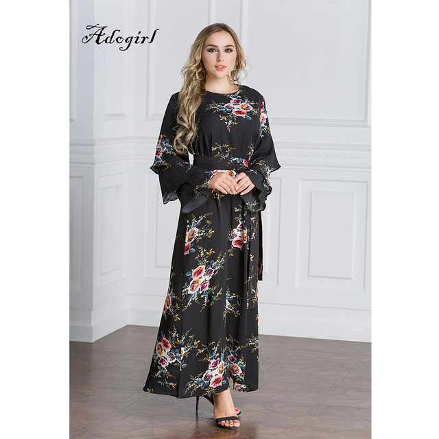 098966e224e8 Muslim Arabic Long Dress Women Casual Long Butterfly Sleeve Black Gown  Chiffon Bohemian Floral Print Party Maxi Dress Vestidos