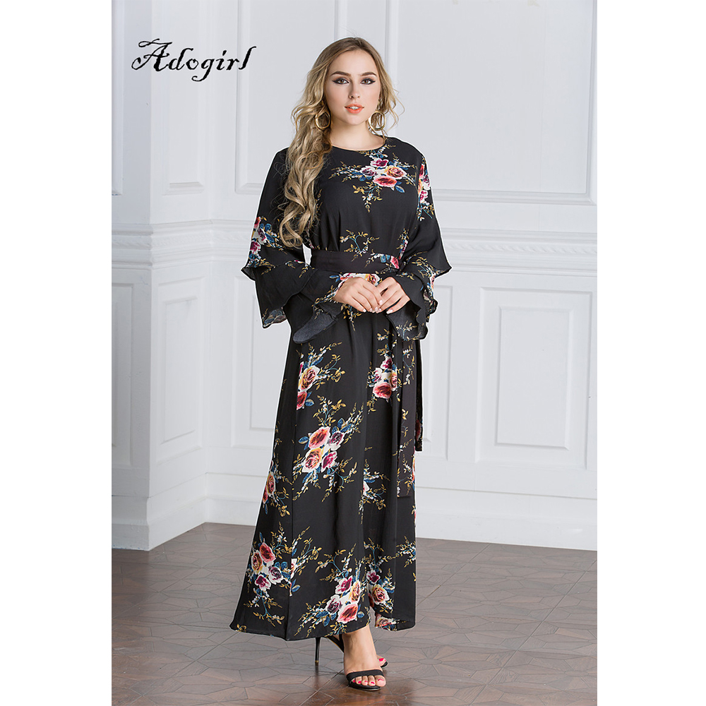 Muslim Arabic Long Dress Women Casual Long Butterfly Sleeve Black Gown Chiffon Bohemian Floral Print Party Maxi Dress Vestidos