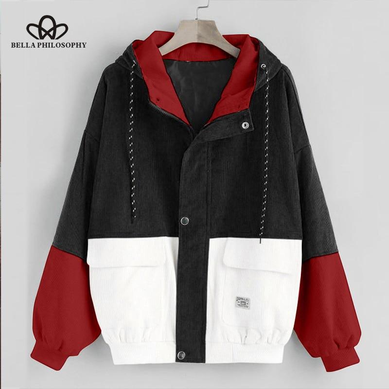 Bella Philosophy Long Sleeve Corduroy Women jacket Spring women Jacket plus size women Zipper female coat Innrech Market.com