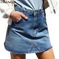 Changla básica cintura alta falda de mezclilla azul de primavera verano 2017 vintage button pocket streetwear ocasional de la falda corta falda de las mujeres