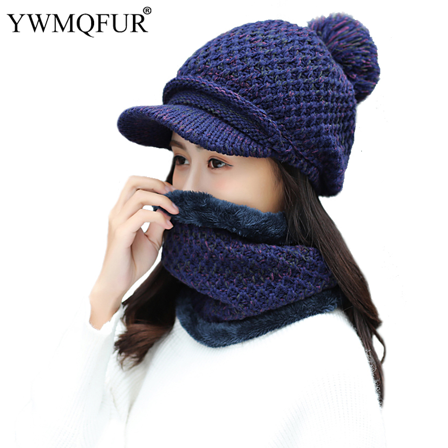 2018 New Winter Hat Scarf Sets For Women Vintage Knit Lady Baseball Cap Girl Outdoor Warm PomPom Hats Female Solid Rings Scarves