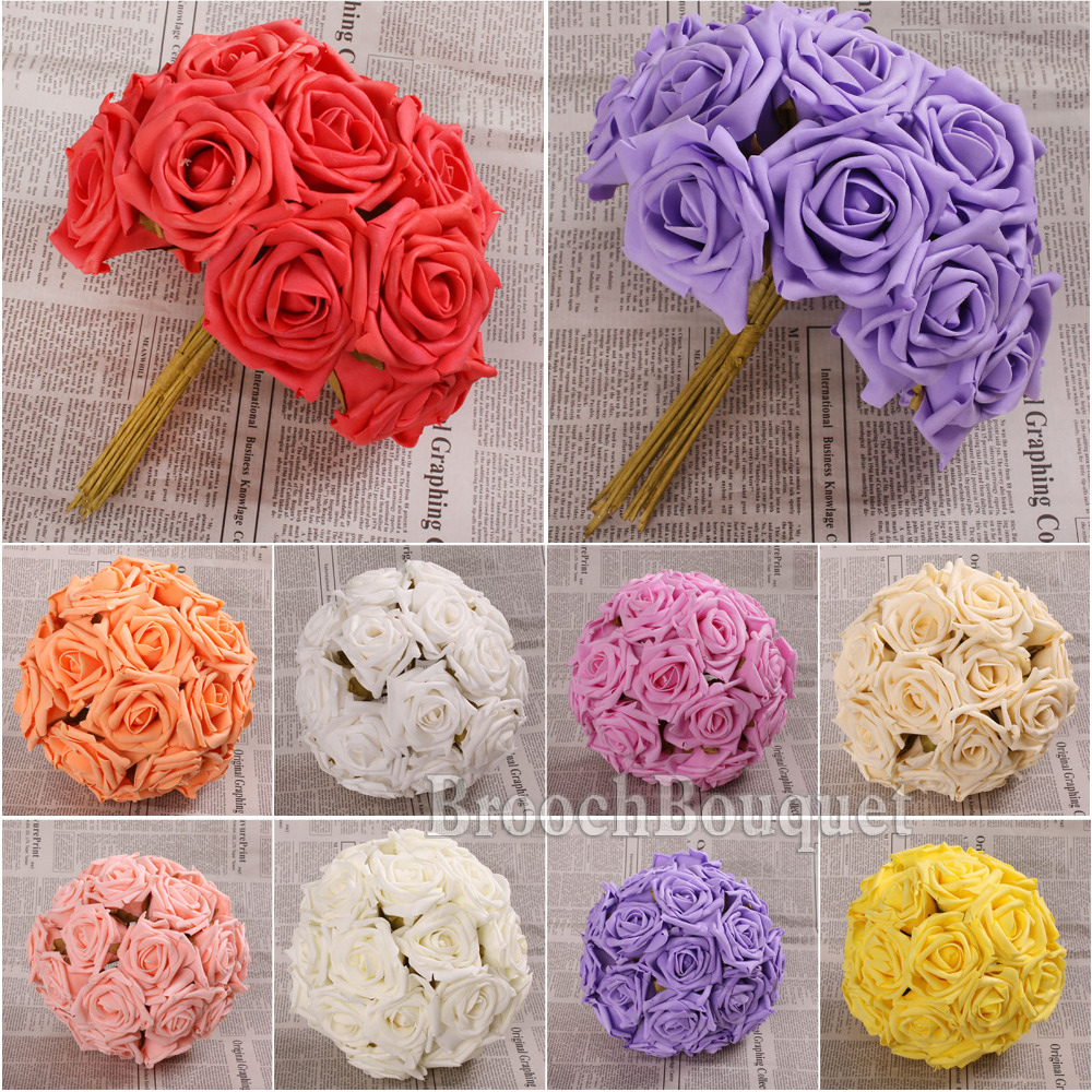 Pretty Charming 6 Heads Lovely Cute Artificial Rose Flower Wedding Bridal Bouquet Home Decor 10 Color