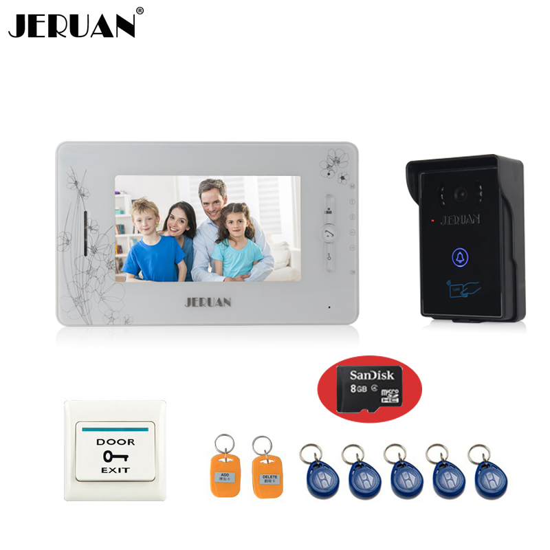 JERUAN 7``video intercom system monitor video recording photo taking video door phone access control system+8GB SD Card buy video monitor