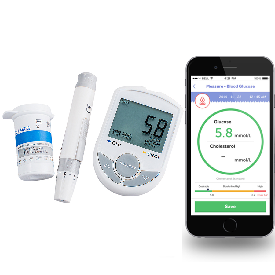Bluetooth 4.0 Glucose / Cholesterol 2in1 Meter monitor with APP for IOS Android 50 Glucose Test Strips+ 10pcsCholesterol strip high quality ce fda blood glucose meters monitor blood sugar diabetics test glycuresis monitor 50 strips 50 needles