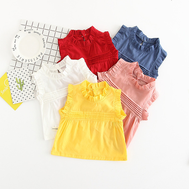 2017 Fashion Summer Baby Girls Clothes Cotton Tops Fly Sleeve Ruffle