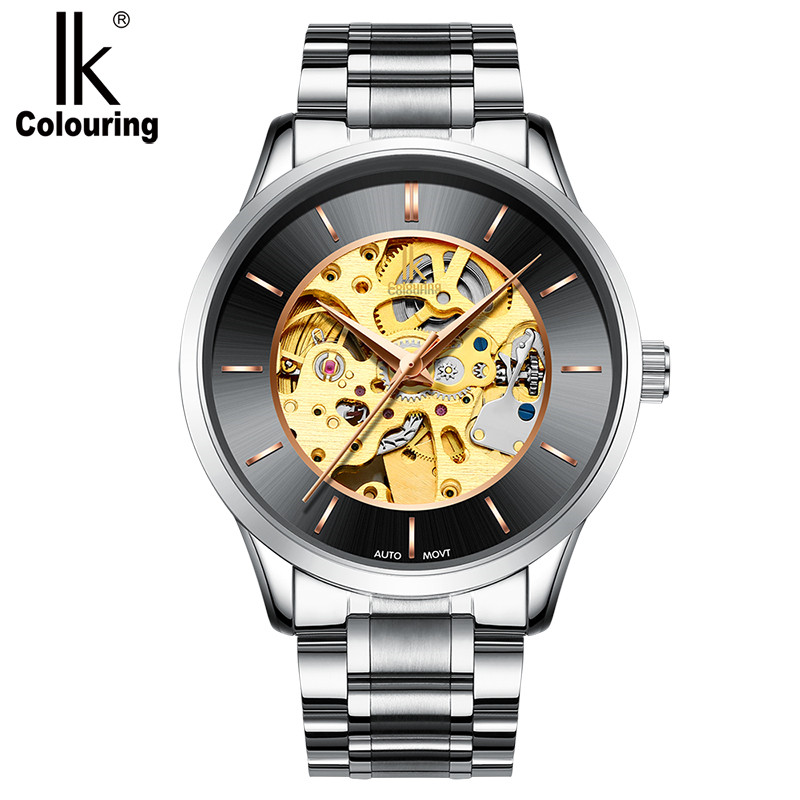 IK Classic Top Brand Automatic Self-Wind Watch Men Full Steel Tourbillon German Design Men Watches Natural Genuine Leather Watch