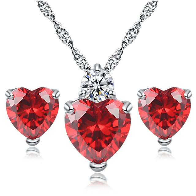 Clic Red Heart Necklace Earrings Set Women S Wedding Gift Cz And Earring