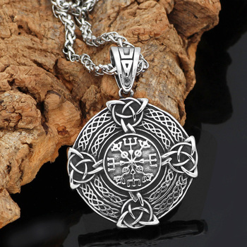 Viking Nordic Pagan Knot Amulet Stainless Steel Shield Necklace  Viking Necklace