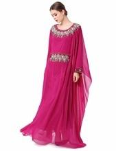 Hanım Nakış uzun kollu müslüman elbise Dubai fas Kaftan Kaftan İslam Abaya giyim Türk arapça elbise LF-17