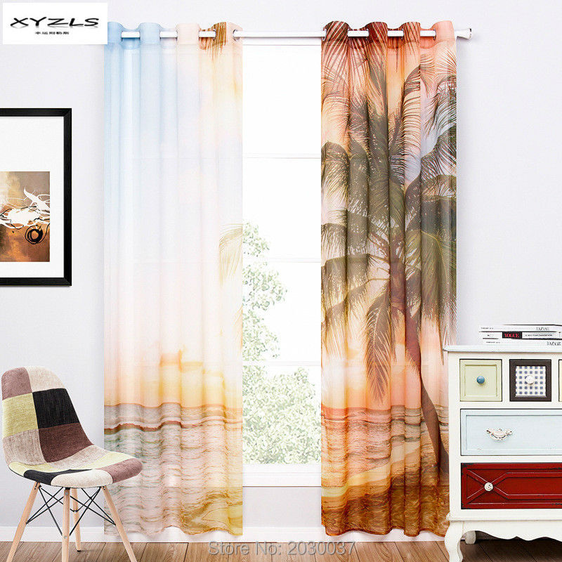 XYZLS Modern Style Window Curtain Living Room Blue Sheer