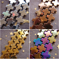 2017 NEW  6mm 8mm 10mm 12mm rainbow gold silver coppery Hematite Cross Loose Beads Free Shipping