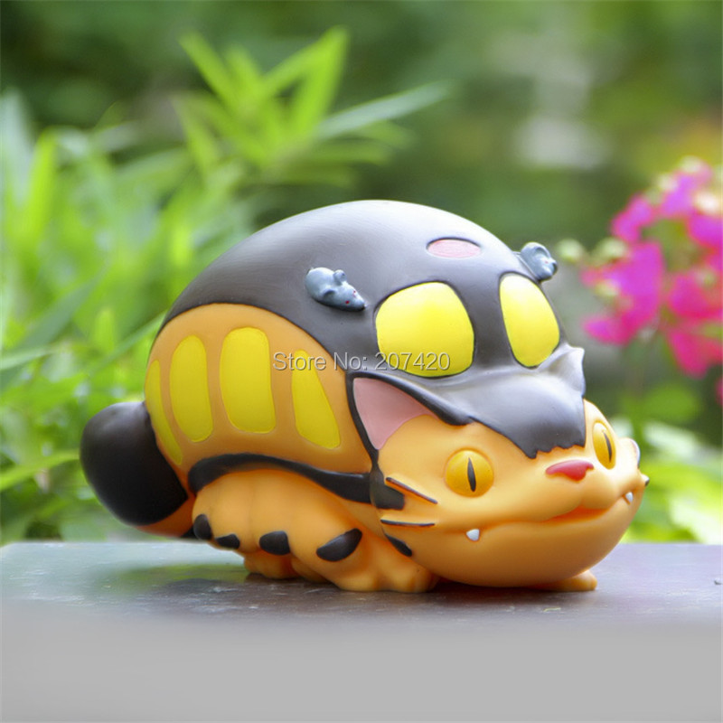 21cm Lovely Anime My Neighbor Totoro Cat Bus Piggy Bank Coin Bank Vinyl Doll Brithday Gift For Kids цена