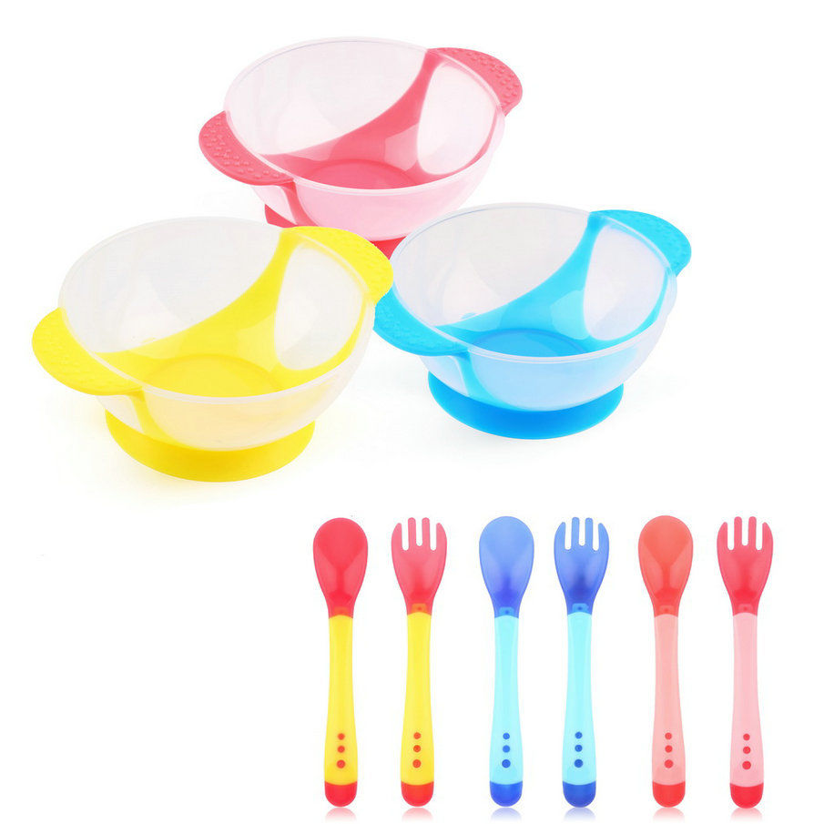 Baby Infants feeding Bowl With Sucker and Temperature Sensing Spoon Suction Cup Bowl Slip-resistant Tableware Set Wholesale