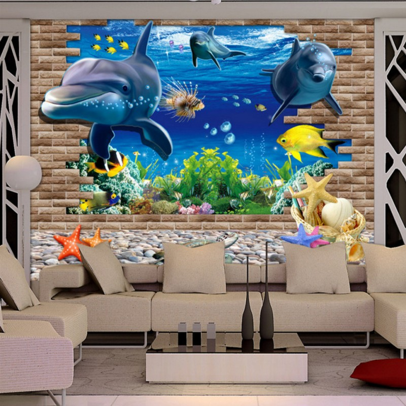Custom photo wallpaper 3D stereo Seaside World Dolphin mural TV Backdrop Kids Room Hostel Wallpaper living room mural custom baby wallpaper snow white and the seven dwarfs bedroom for the children s room mural backdrop stereoscopic 3d