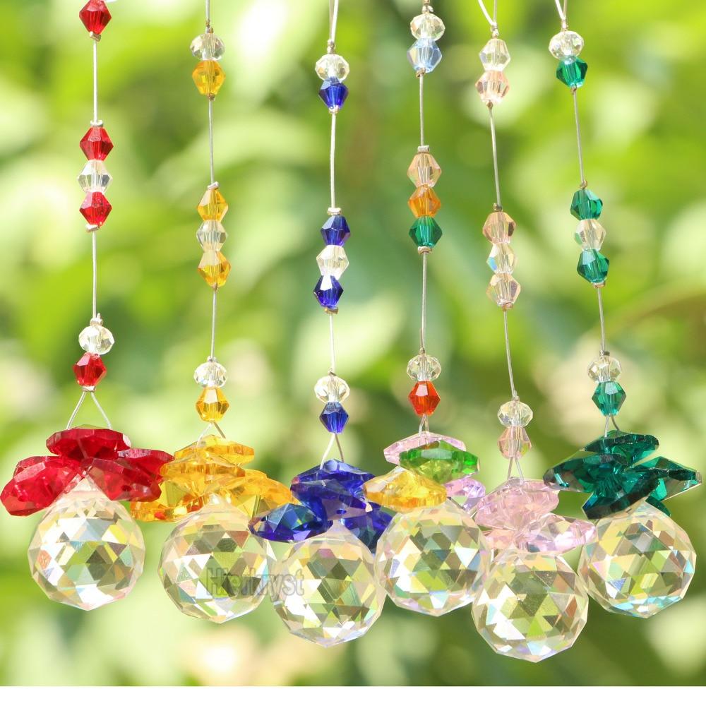 6pcs lot crystal ball suncatcher feng shui prisms pendant pendulum hanging window decor 20mm in. Black Bedroom Furniture Sets. Home Design Ideas