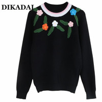 Embroidery Flowers Women Sweater And Pullovers Plus Size Knitted Tops Black Orange Color Fall 2017 Fashion