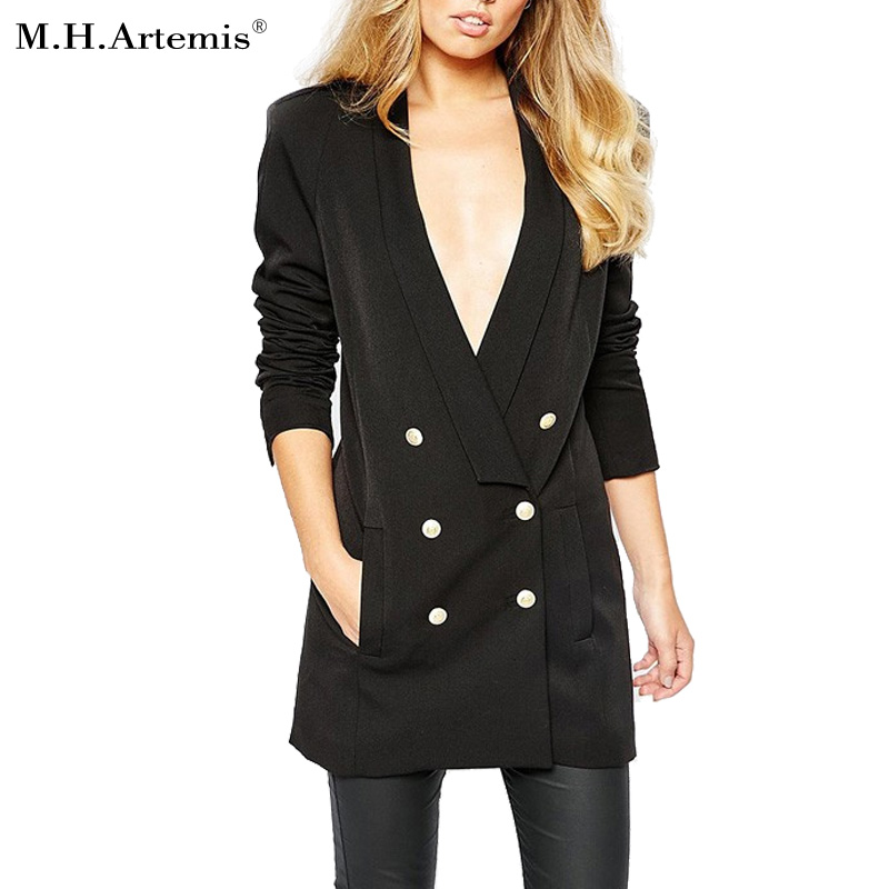 m h artemis cool double breasted long suit blazer femme autumn chic slim fit ladies blazer. Black Bedroom Furniture Sets. Home Design Ideas