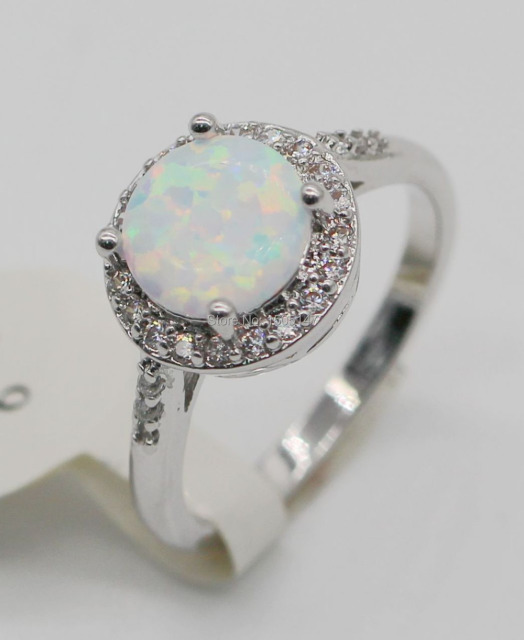 Hot Sell ! Noble & Fashion Wholesale & Retail  white Fire Opal 925 Sterling Silver Ring size 6/7/8/9