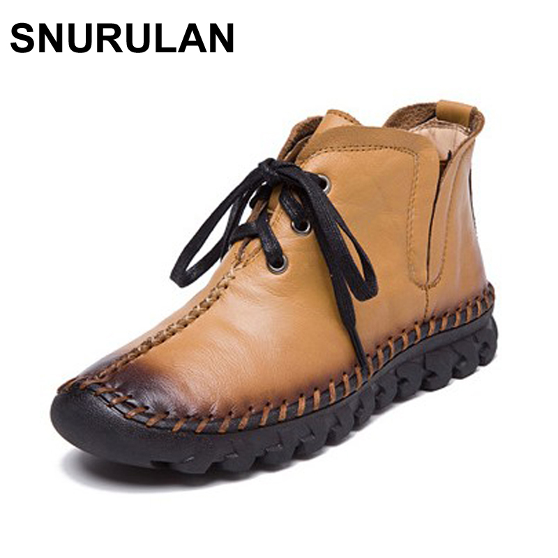 SNURULAN New women Genuine Leather Boots Vintage Style Flat Booties Soft Cowhide Women's Shoes side Zip Ankle Boots zapatos muje maylosa 2017 vintage style genuine leather women boots flat booties soft cowhide women s shoes zip ankle boots warm winter shoe