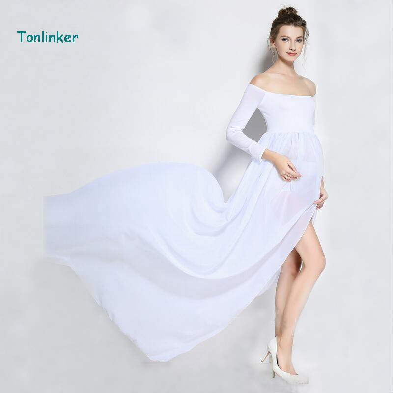 Tonlinker chiffon maternity dress for pregnancy maxi photography dresses props clothes