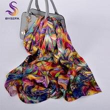 [BYSIFA] роскошный шарф из чистого шелка, шаль для женщин, весна-осень, длинные шарфы, Женский Бренд, шелк, шейный шарф, 175*52 см
